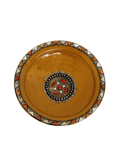 Badia Ceramic Plate with Metal and Bone, Yellow/Red/Silver