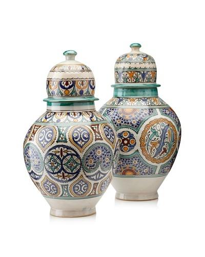 Set of 2 Hand-Painted Ceramic Jars