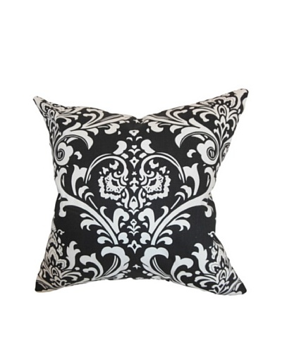 The Pillow Collection Malaga Damask Pillow, Black