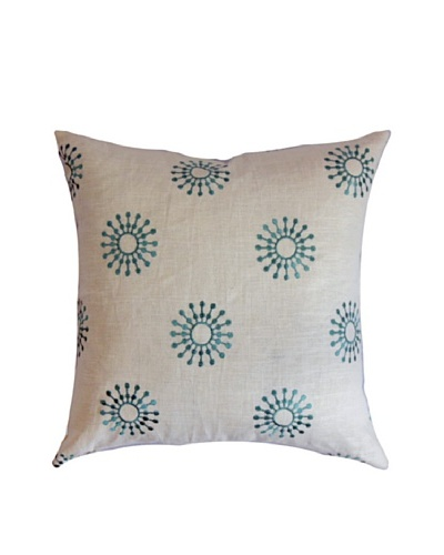 The Pillow Collection Irece Aqua, White/Aqua, 18 x 18