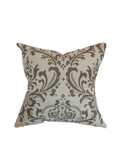 The Pillow Collection Olavarria Damask Pillow, Brown
