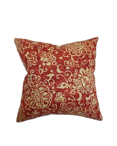 The Pillow Collection Jaffna Floral Pillow, Russett