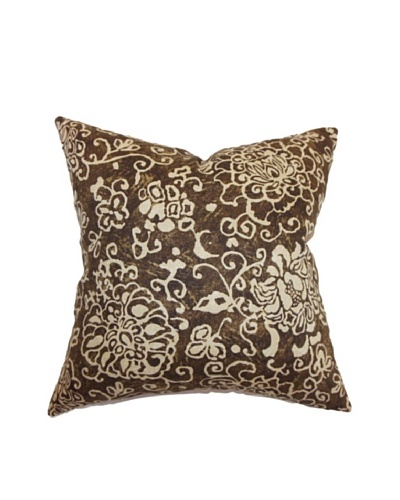 The Pillow Collection Jaffna Floral Pillow, Chocolate