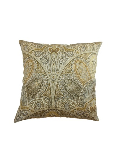 The Pillow Collection La Ceiba Paisley Pillow, Sandstone