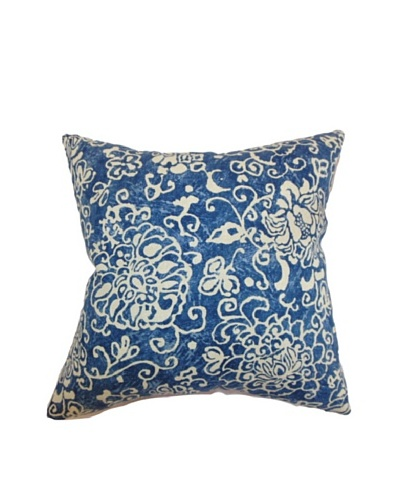 The Pillow Collection Jaffna Floral Pillow, Royal Blue