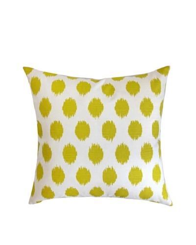 "The Pillow Collection Kaintiba Ikat Pillow, Green/White, 18"" x 18"""