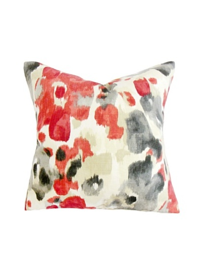 "The Pillow Collection Delyne Floral Pillow, Red/Black, 18"" x 18"""