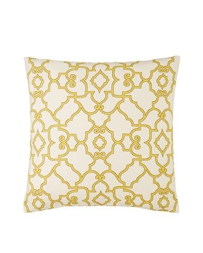 The Pillow Collection Macca Moorish Tile Pillow, Buttercup, 18 x 18