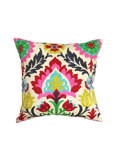The Pillow Collection Tahsis Floral Pillow, Multi, 18 x 18