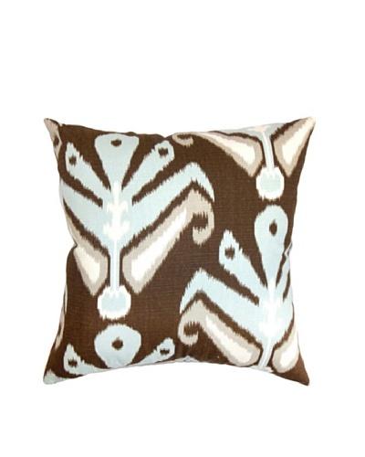 The Pillow Collection Sakon Ikat Pillow Ikat Aqua, Brown/Aqua, 18 x 18