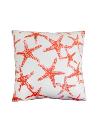 The Pillow Collection Ilene Coastal Pillow, Salmon/White, 18x18