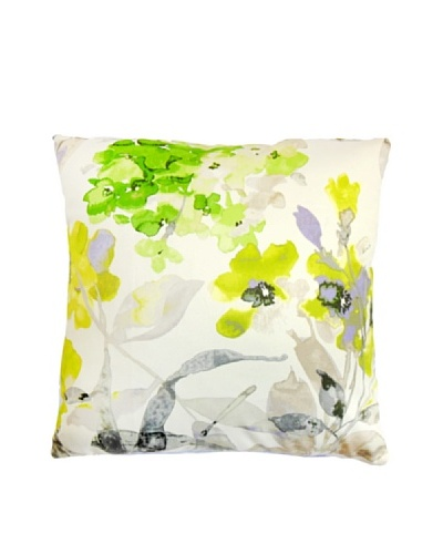 The Pillow Collection Naryany Floral Pillow, Silver, 18 x 18