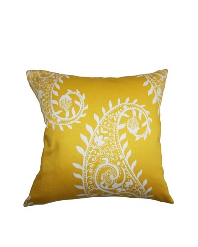 The Pillow Collection Neysa Paisely Pillow, Yellow