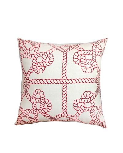 The Pillow Collection Accalia Nautical Pillow, Beige/Red