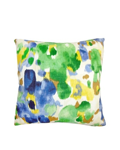 The Pillow Collection Delyne Floral Pillow, Green/Blue, 18 x 18