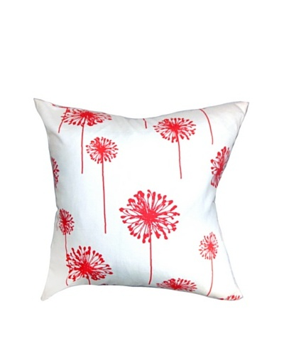 The Pillow Collection Dandelion Coral, White/Coral, 18 x 18