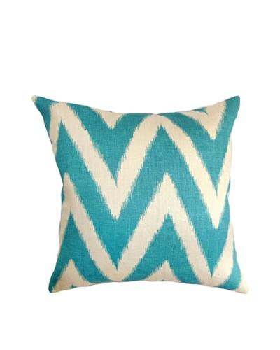 The Pillow Collection Bakana Zigzag Pillow, Aqua, 18 x 18
