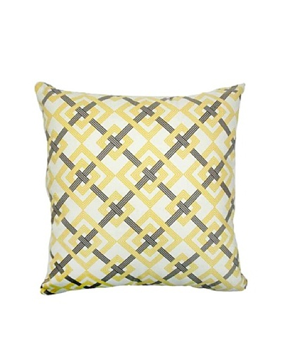 The Pillow Collection Kaedee Square Knot Pillow, Yellow/Grey