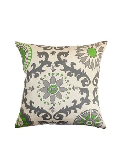 The Pillow Collection Kaula Geometric Pillow, Grey/Green, 18 x 18