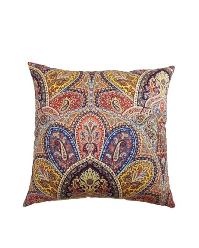 The Pillow Collection La Ceiba Paisley Pillow, Blue/Multi