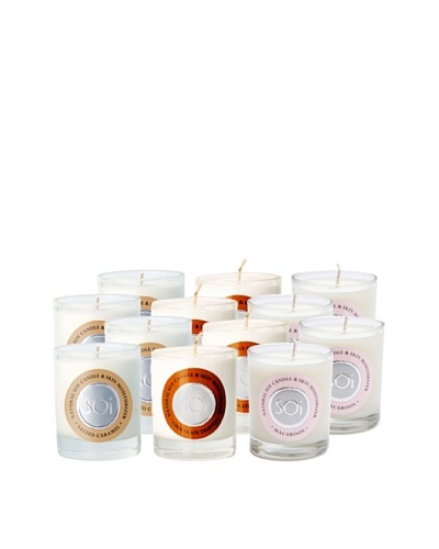 The Soi Co. Set of 12 3-Oz Votives, Chocolate Truffle/Salted Caramel/Macaroon