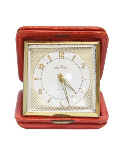 Seth Thomas Vintage Alarm Clock, Red/White/Gold