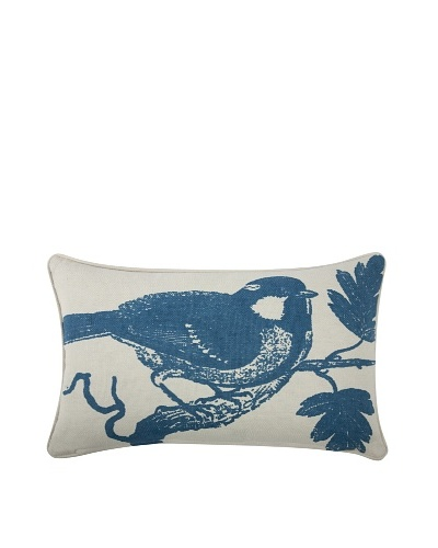 Chickadee Feather Pillow, Azure
