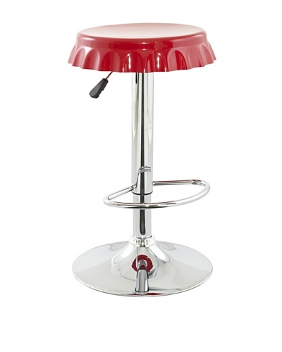 International Design USA Plastic Soda Cap Adjustable Stool, Red