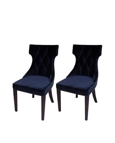 International Design USA Set of 2 Regis Velvet Dining Chairs, Black