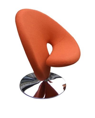International Design USA Ziggy Wool Swivel Leisure Chair, Orange