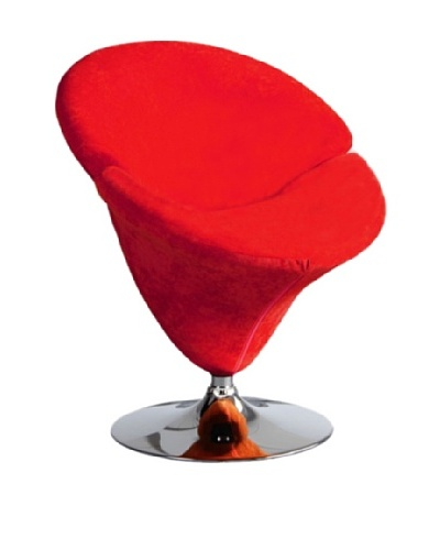 International Design USA Tulip Microfiber Leisure Chair, Red