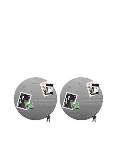 Three by Three Set of 2 Big Dot Magnet Boards, Stainless