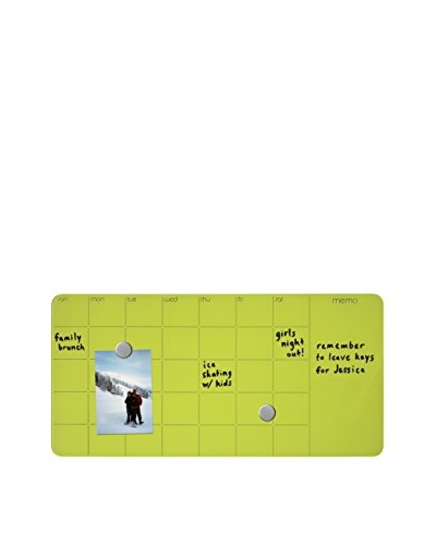 Three by Three Magnetic Dry Erase Monthly Planner Board, Spring Green