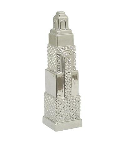 Three Hands Ceramic Empire State Statue, Silver