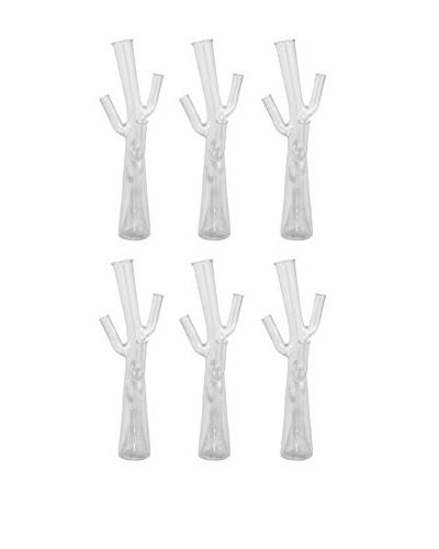 Three Hands Set of 6 Tall Glass Tree Vases