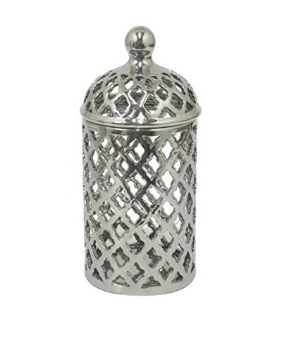 Three Hands Ceramic Covered Jar, Silver