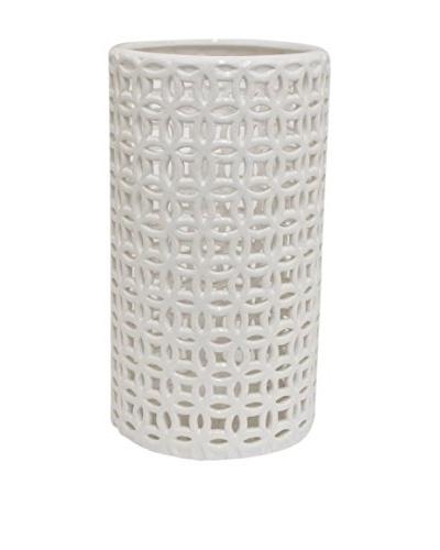Three Hands Pierced Vase, White