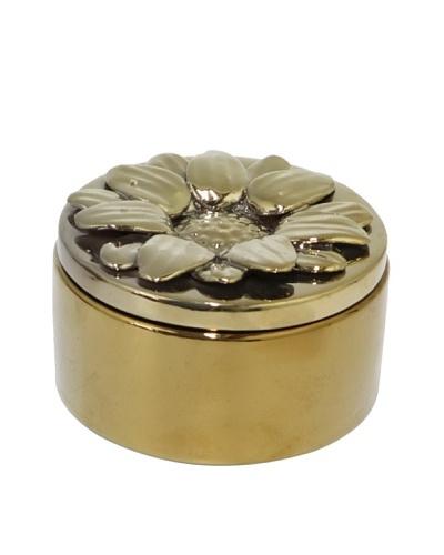 Three Hands Flower Covered Ceramic Box