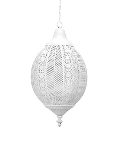 Three Hands Hanging Metal Lantern, White