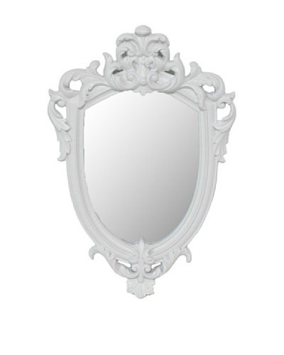 Three Hands Hollywood Regency Embellished Wall Mirror, White