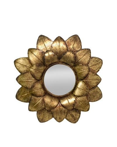 Three Hands Flower Petal Metal Wall Mirror