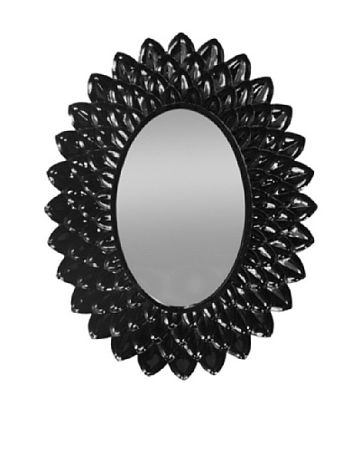 Three Hands Oval Petal Mirror, Black