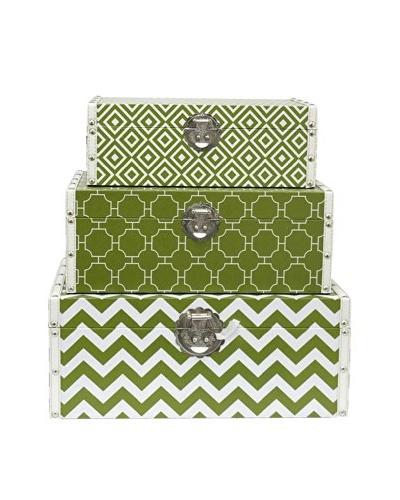 Three Hands Set of 3 Geometric Wood Boxes, Green