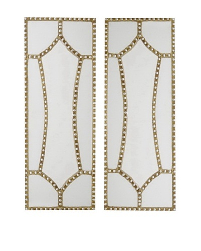 Three Hands Set of 2 Gilded Hollywood Regency Studded Mirrors, GoldAs You See