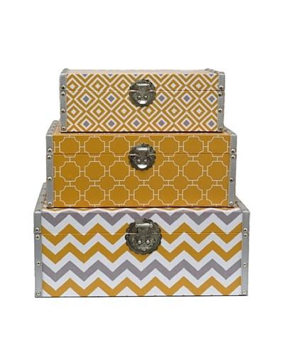 Three Hands Set of 3 Geometric Wood Boxes, Yellow