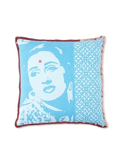 Zalva Bollywood Pillow, Teal, 18 x 18