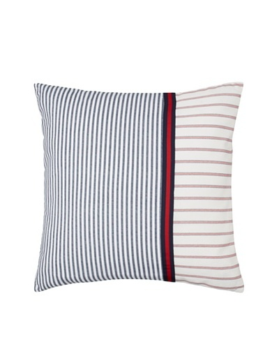 "Tommy Hilfiger Vintage Plaid Pieced Stripe Decorative Pillow, Navy/White/Red, 18"" x 18"""