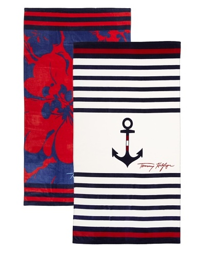 Tommy Hilfiger Set of 2 Anchor and Stripe/Modern Hibiscus Beach Towels
