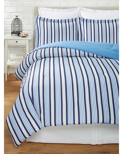 Tommy Hilfiger Tampa Comforter Set, Blue Stripe, Full/Queen