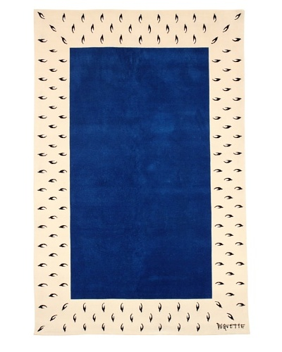 Tony Duquette Ermine Border Rug, Blue/Cream, 6' x 9'As You See